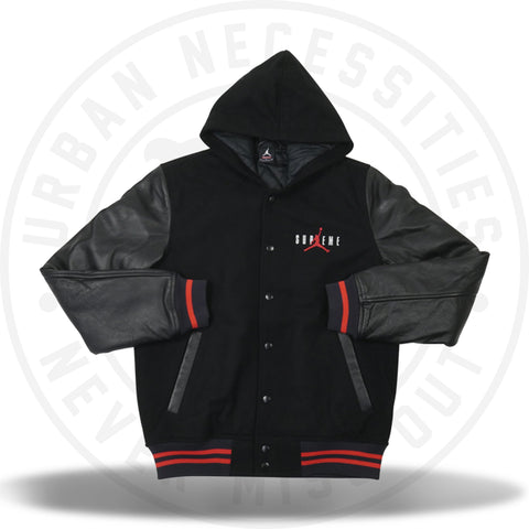 Supreme Jordan Hooded Varsity Jacket Black-Urban Necessities