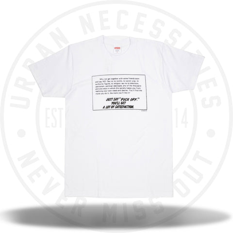 Supreme Just Say No Tee White-Urban Necessities