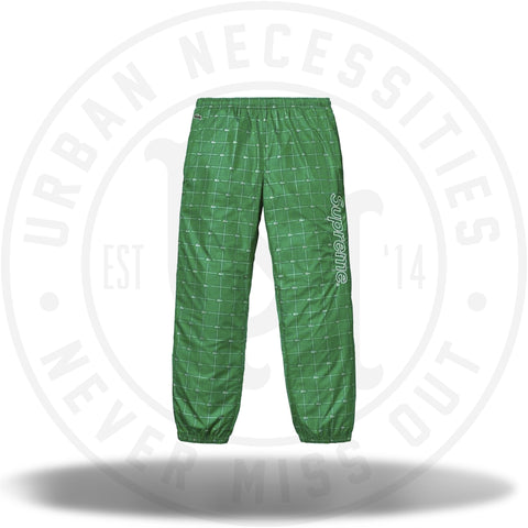 Supreme LACOSTE Reflective Grid Nylon Track Pant Green-Urban Necessities