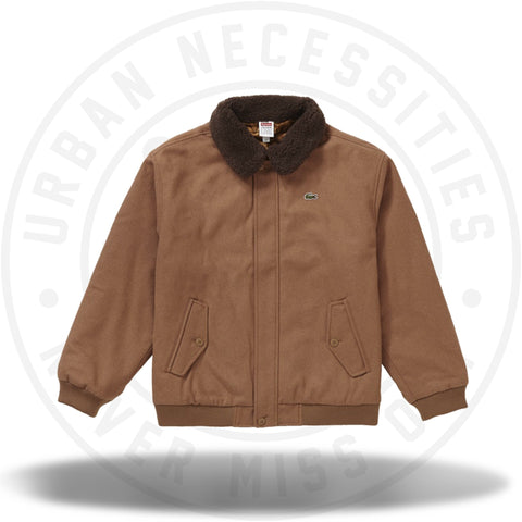Supreme LACOSTE Wool Bomber Jacket Tan-Urban Necessities