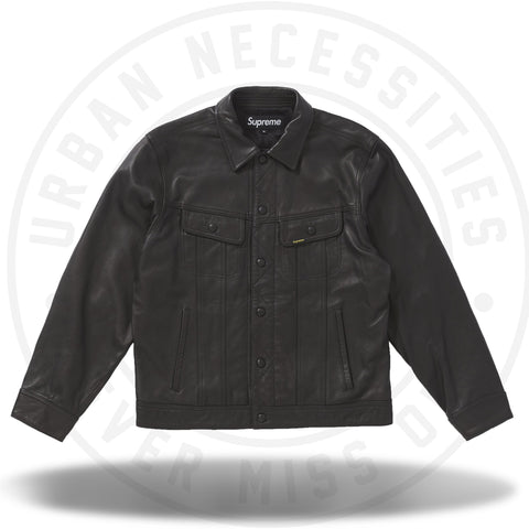 Supreme Leather Trucker Jacket Black-Urban Necessities