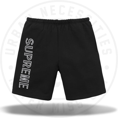 Supreme Leg Embroidery Sweatshort Black-Urban Necessities
