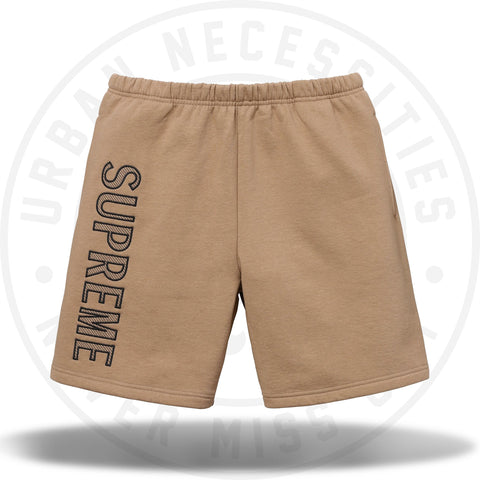 Supreme Leg Embroidery Sweatshort Light Brown-Urban Necessities