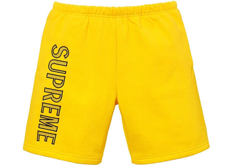 Supreme Leg Embroidery Sweatshort Yellow-Urban Necessities