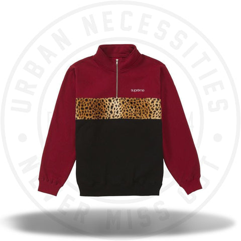 Supreme Leopard Panel Half Zip Sweatshirt Cardinal-Urban Necessities