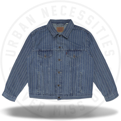 Supreme Levi's Pinstripe Trucker Jacket (With Pin) Blue Stripe-Urban Necessities