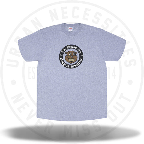 Supreme Life Sucks Die Tee Heather Grey-Urban Necessities