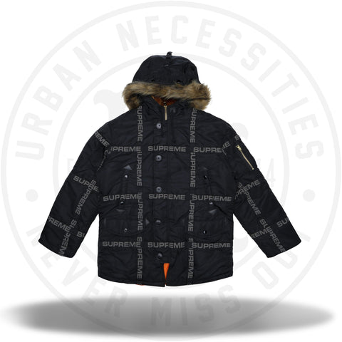 Supreme Logo Tape N-3B Parka Black-Urban Necessities
