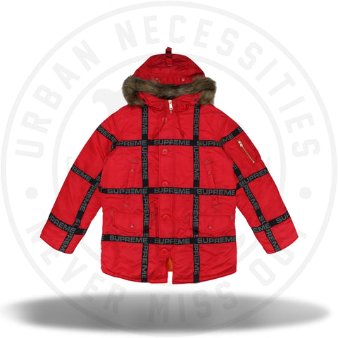Supreme Logo Tape N-3B Parka Red-Urban Necessities