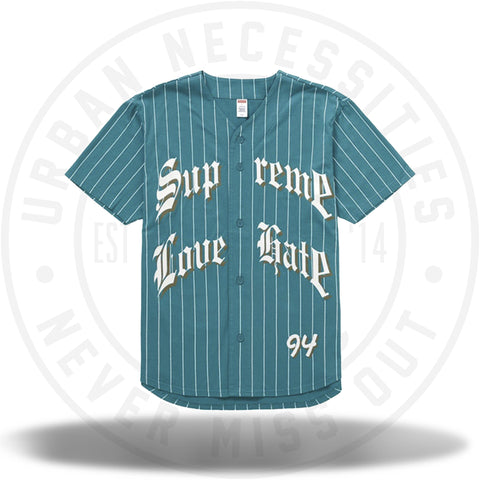Supreme Love Hate Baseball Jersey Teal-Urban Necessities