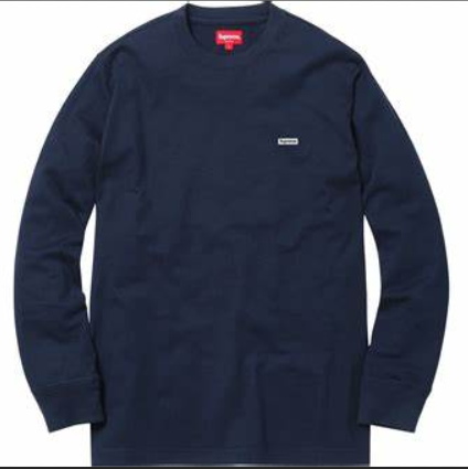 Supreme Metallic Box Logo L/S Tee Navy-Urban Necessities