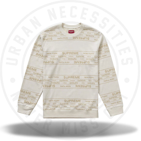 Supreme Metallic Jacquard Crewneck White-Urban Necessities