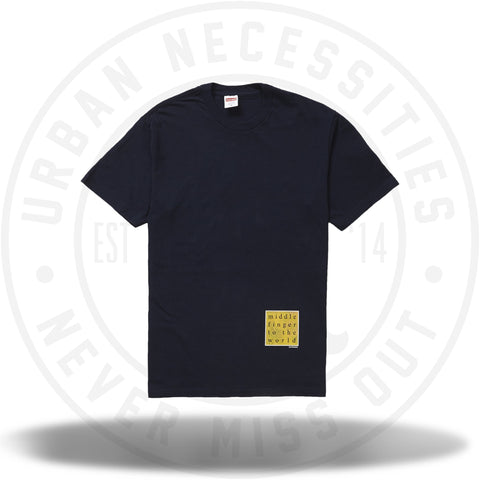 Supreme Middle Finger to the World Tee Navy-Urban Necessities
