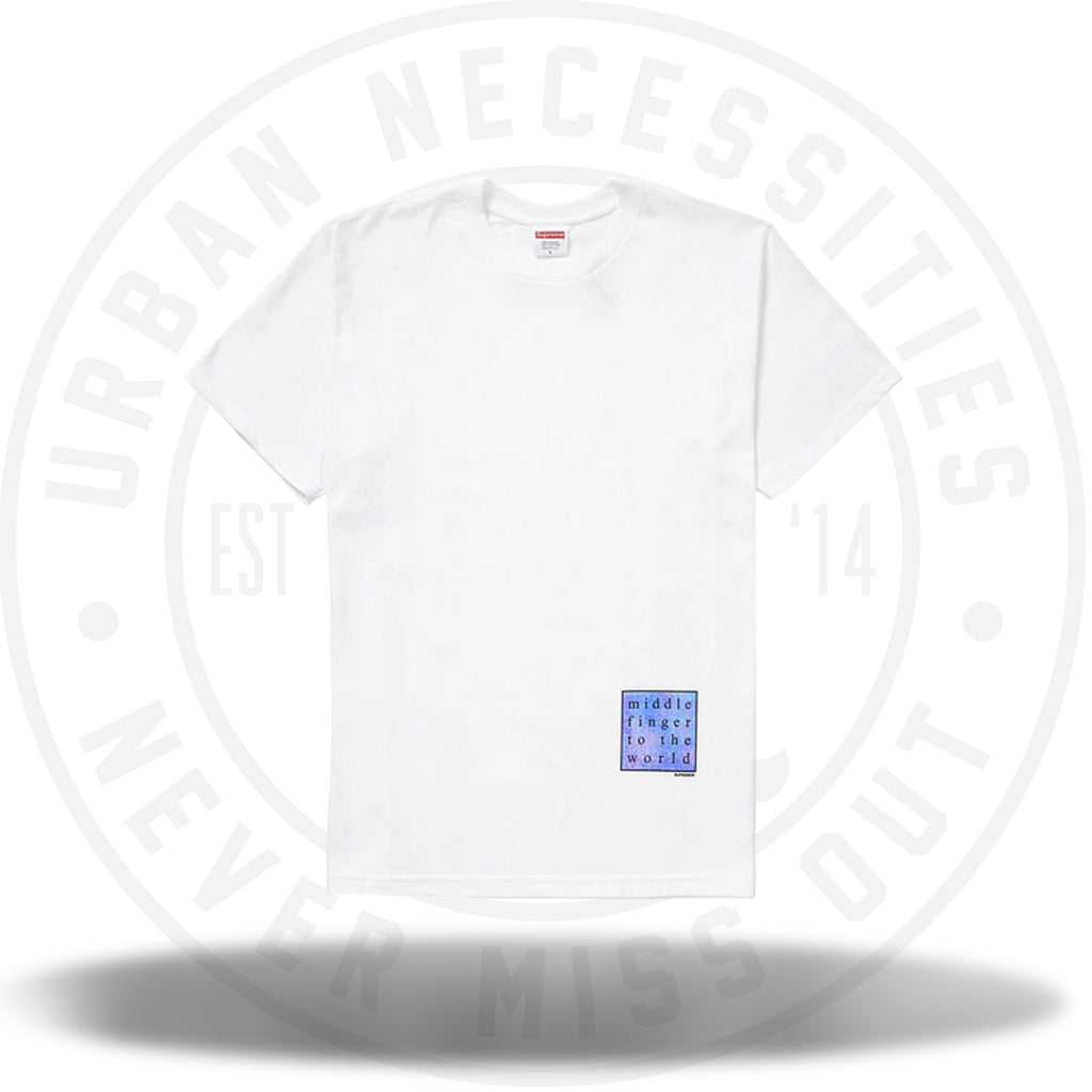 Supreme Middle Finger to the World Tee White-Urban Necessities