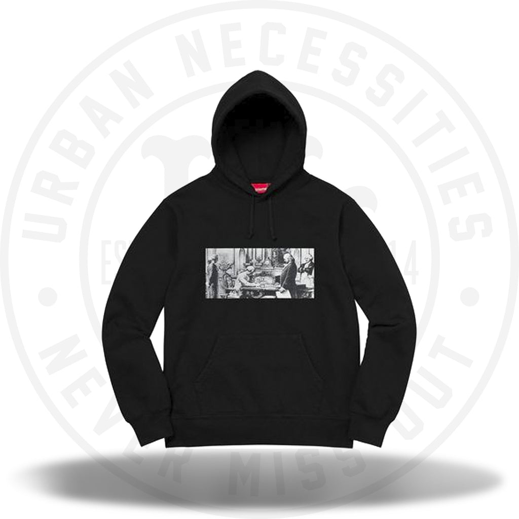 Supreme Mike Kelley Franklin Signing the Treaty of Alliance with French Officials Hooded Sweatshirt Black-Urban Necessities