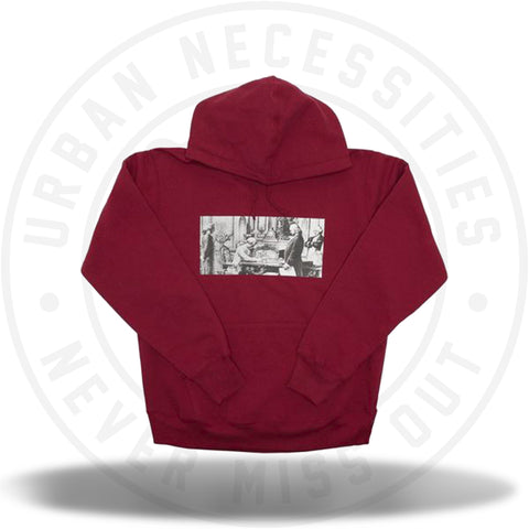 Supreme Mike Kelley Franklin Signing the Treaty of Alliance with French Officials Hooded Sweatshirt Dark Magenta-Urban Necessities