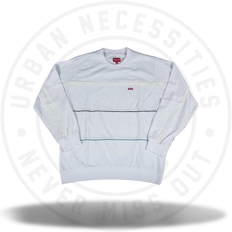 Supreme Multicolor Piping Pique Crewneck White-Urban Necessities