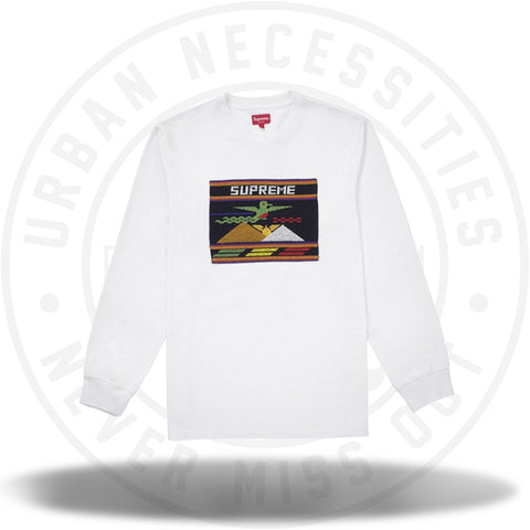 Supreme Needlepoint Patch L/S Top White-Urban Necessities