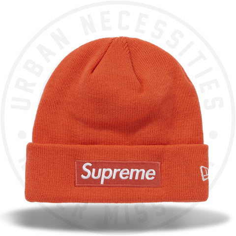 Supreme New Era Box Logo Beanie (FW18) Bright Coral-Urban Necessities