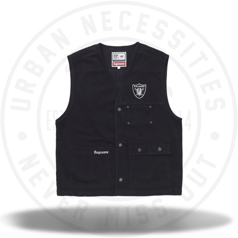 Supreme NFL x Raiders x '47 Denim Vest Black-Urban Necessities