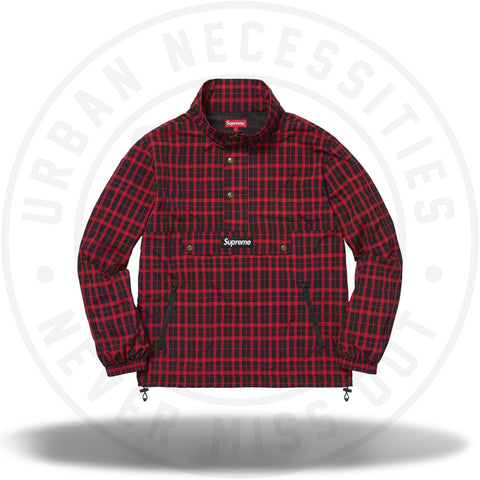 Supreme Nylon Plaid Pullover Red FW18-Urban Necessities