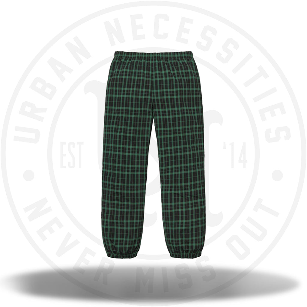 Supreme Nylon Plaid Track Pant Green-Urban Necessities