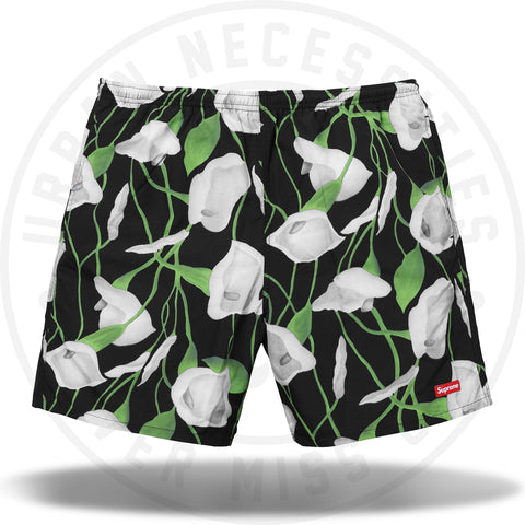 Supreme Nylon Water Short Black Floral-Urban Necessities