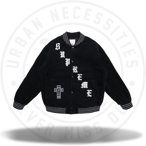 Supreme Old English Corduroy Varsity Jacket Black-Urban Necessities