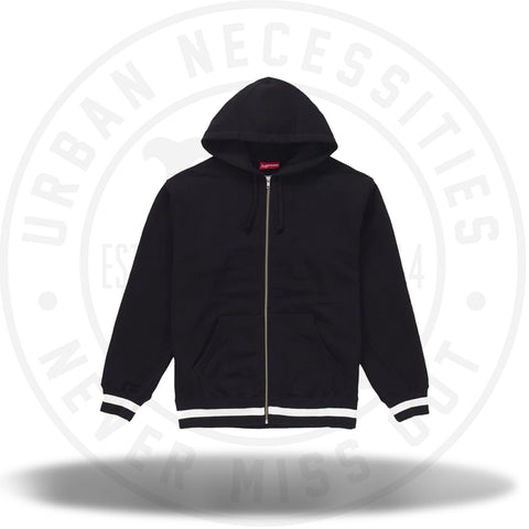Supreme Old English Stripe Zip Up Sweatshirt Black-Urban Necessities
