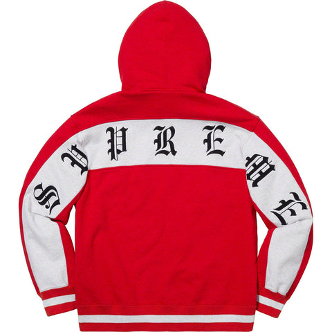 Supreme Old English Stripe Zip Up Sweatshirt Red-Urban Necessities