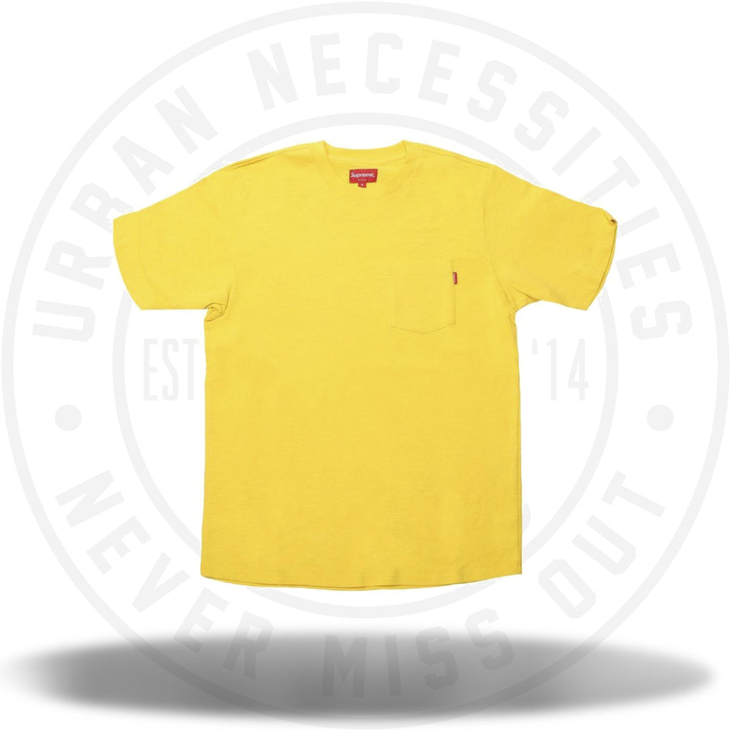 Supreme Overdyed Pocket Tee Washed Bright Yellow SS18-Urban Necessities