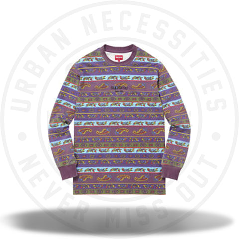 Supreme Paisley Stripe Long Sleeve Tee Olive SS16-Urban Necessities
