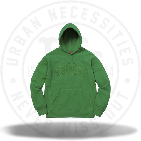 Supreme Patent/Chenille Arc Logo Hooded Sweatshirt Green-Urban Necessities
