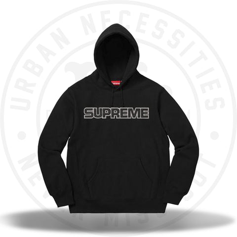 Supreme Perforated Leather Hooded Sweatshirt Black FW18-Urban Necessities