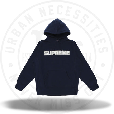 Supreme Perforated Leather Hooded Sweatshirt Navy-Urban Necessities