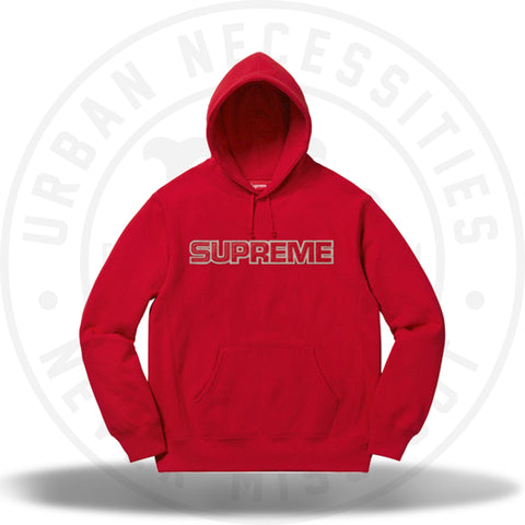 Supreme Perforated Leather Hooded Sweatshirt Red-Urban Necessities