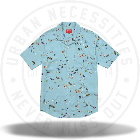 Supreme 'Pills' Rayon Shirt Blue FW17-Urban Necessities