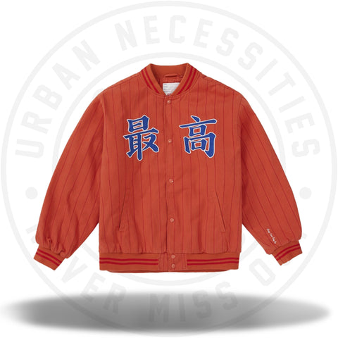 Supreme Pinstripe Varsity Jacket Orange-Urban Necessities