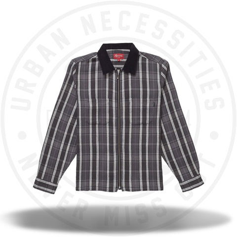 Supreme Plaid Thermal Zip Up Shirt Black-Urban Necessities