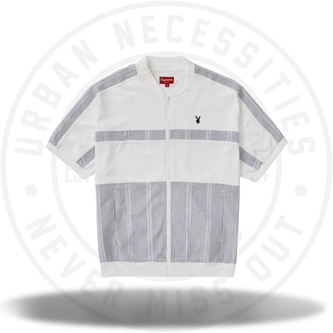 Supreme Playboy Leisure Zip Up Top White-Urban Necessities