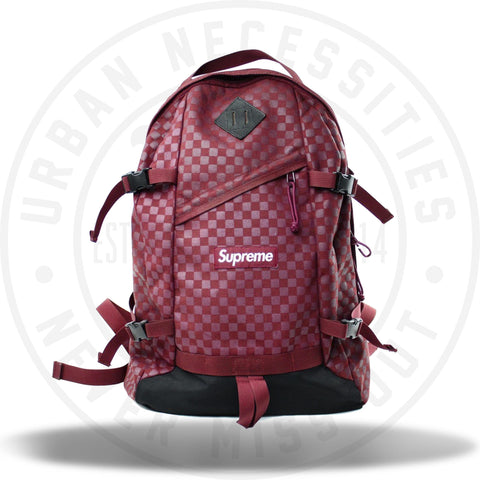 Supreme Printed Checkered Backpack Maroon FW11-Urban Necessities