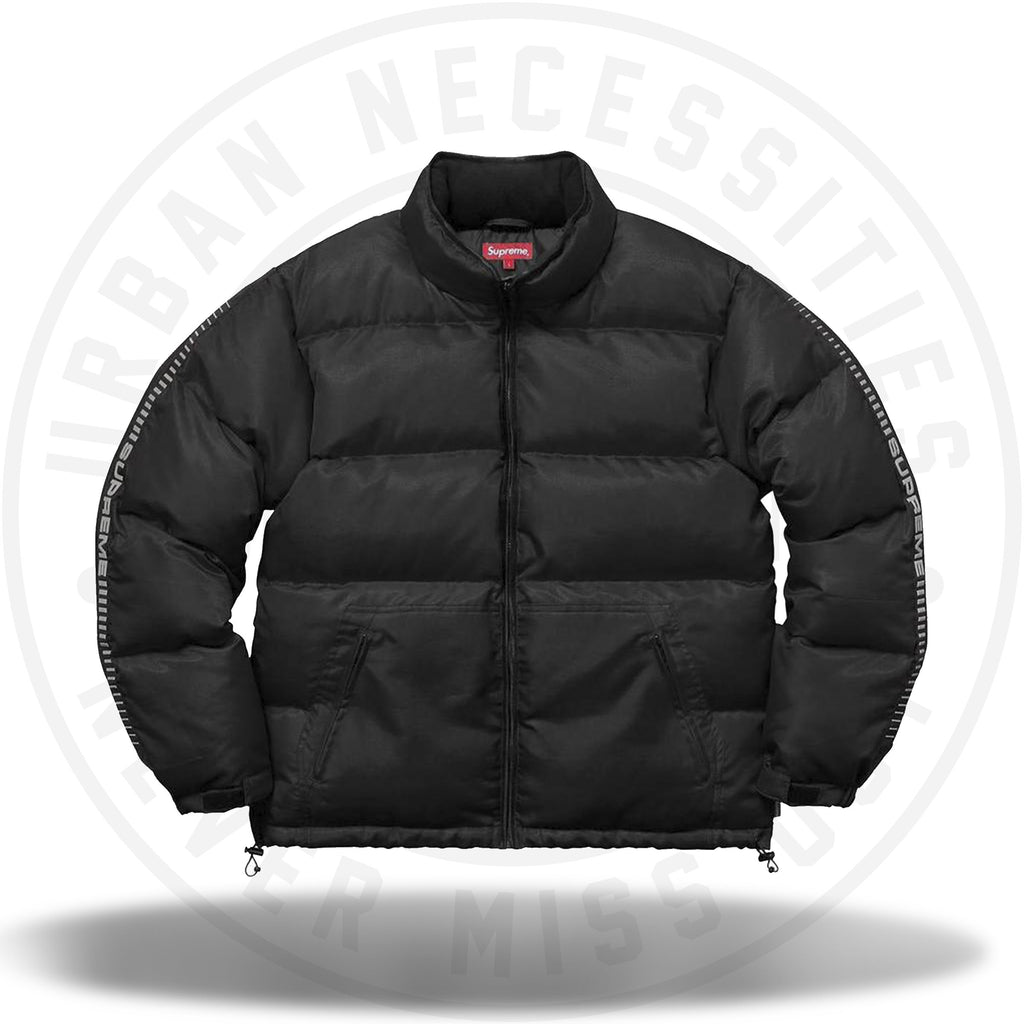 Supreme Reflective Sleeve Logo Puffy Jacket Black-Urban Necessities
