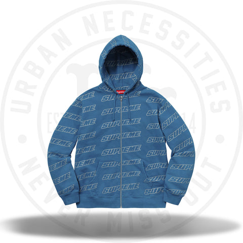 Supreme Repeat Zip Up Hooded Sweatshirt Dark Aqua-Urban Necessities