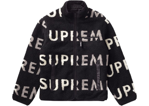 Supreme Reversible Logo Fleece Jacket Black-Urban Necessities