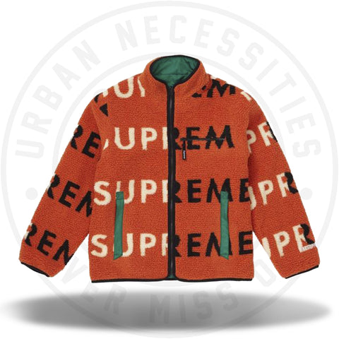 Supreme Reversible Logo Fleece Jacket Orange-Urban Necessities