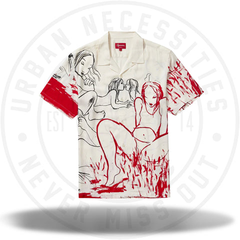 Supreme Rita Ackermann Rayon S/S Shirt White-Urban Necessities