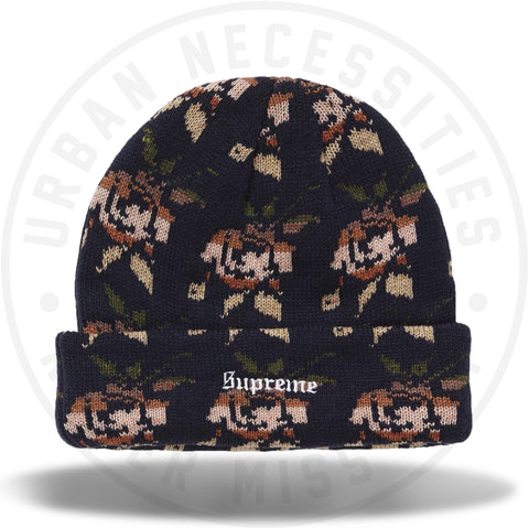 Supreme Rose Jacquard Beanie Navy-Urban Necessities