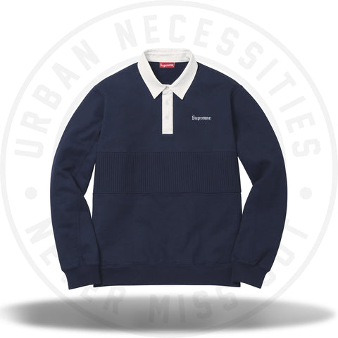 Supreme Rugby Sweatshirt Navy-Urban Necessities