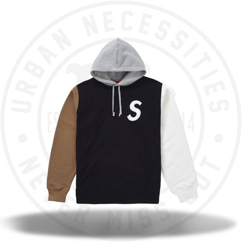 Supreme S Logo Colorblocked Hooded Sweatshirt Black SS19-Urban Necessities