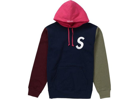Supreme S Logo Colorblocked Hooded Sweatshirt Navy SS19-Urban Necessities